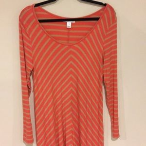 Motherhood Maternity Chevron LS Dress Pink Tan M